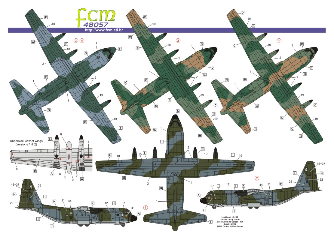 Decalque C-130 Hércules FAB 1/48 - FCM 48-057  - BLIMPS COMÉRCIO ELETRÔNICO