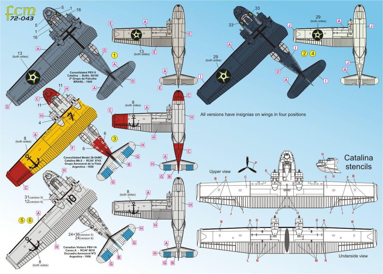 Decalque Catalina FAB e Marinha Argentina 1/72 - FCM 72-043  - BLIMPS COMÉRCIO ELETRÔNICO
