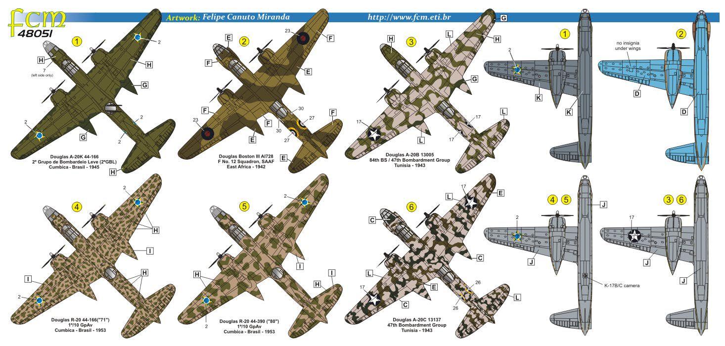 Decalque Douglas A-20K e R-20 da FAB 1/48 - FCM 48-051  - BLIMPS COMÉRCIO ELETRÔNICO