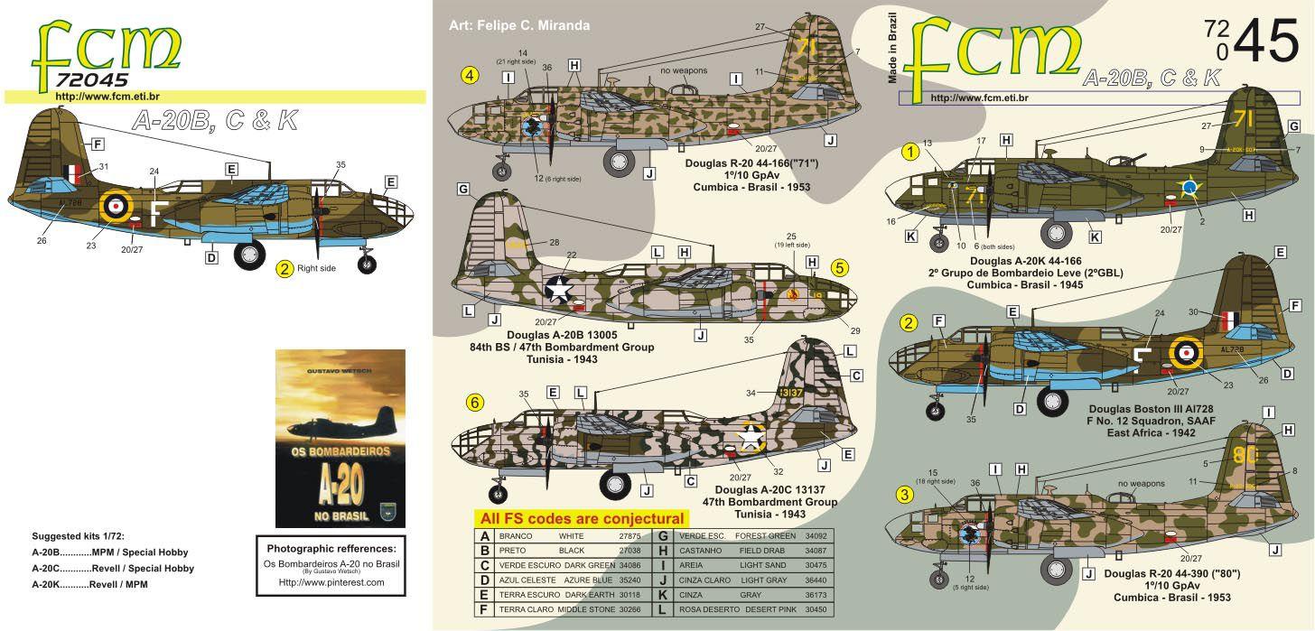 Decalque Douglas A-20K e R-20 da FAB 1/72 - FCM 72-045  - BLIMPS COMÉRCIO ELETRÔNICO