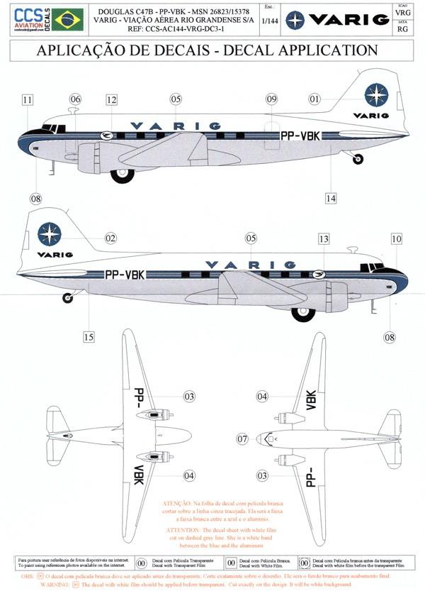 Decalque Douglas C47B – PP-VBK – VARIG 1/144 - CCS-AC144-VRG-DC3-1  - BLIMPS COMÉRCIO ELETRÔNICO