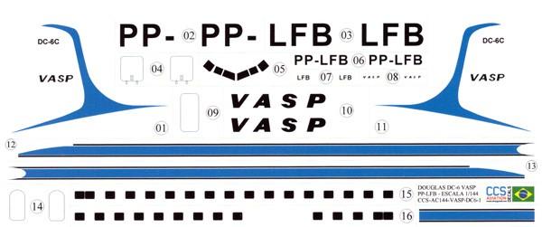 Decalque Douglas DC-6C – PP-LFB – VASP 1/144 - CCS-AC144-VSP-DC6-1  - BLIMPS COMÉRCIO ELETRÔNICO