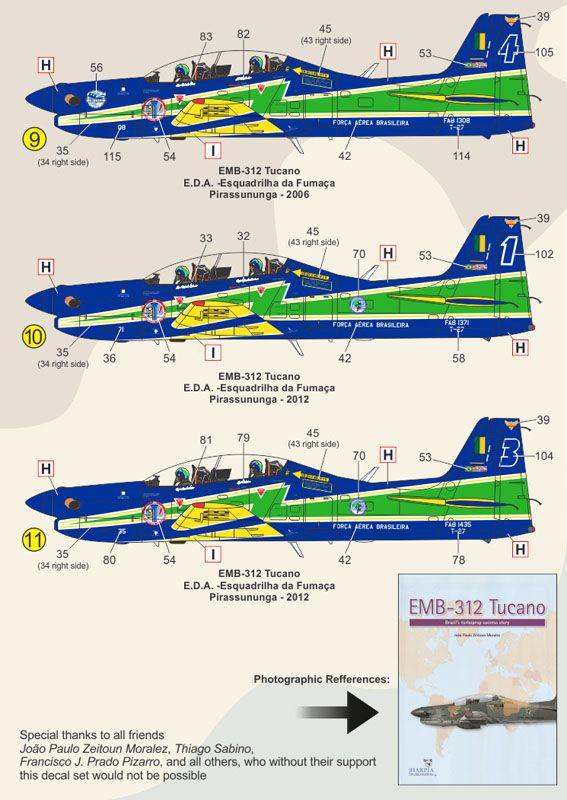 Decalque EMB-312 T-27 Tucano FAB 1/48 - FCM 48-055  - BLIMPS COMÉRCIO ELETRÔNICO