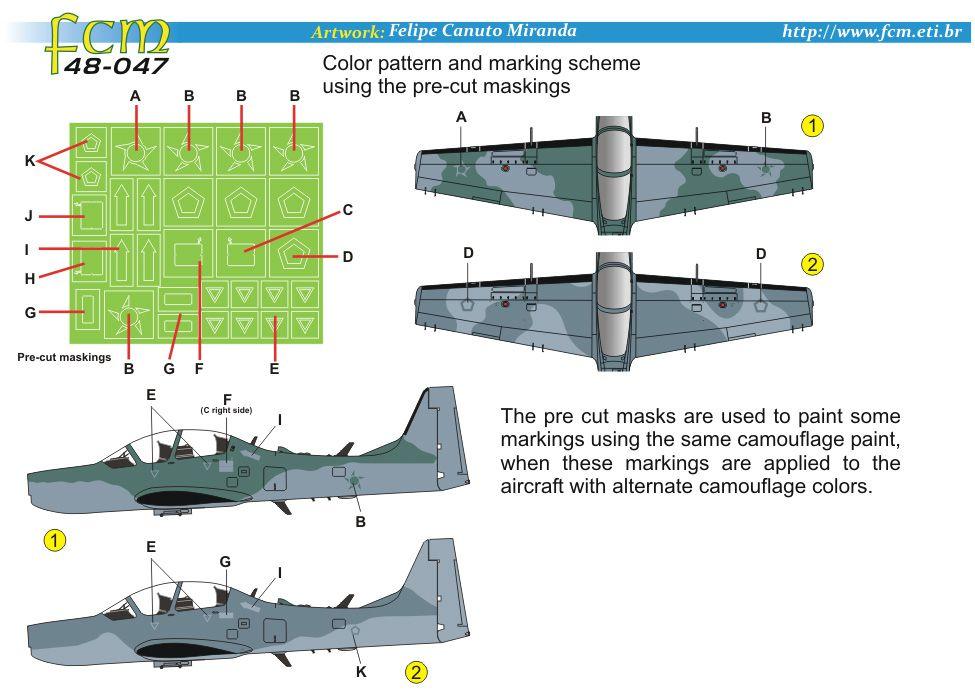 Decalque EMB-314 A-29 Super Tucano da FAB 1/48 - FCM 48-047  - BLIMPS COMÉRCIO ELETRÔNICO