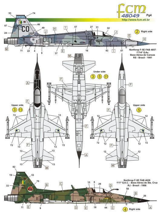 Decalque F-5B/E/F 1/48 - FCM 48-049  - BLIMPS COMÉRCIO ELETRÔNICO