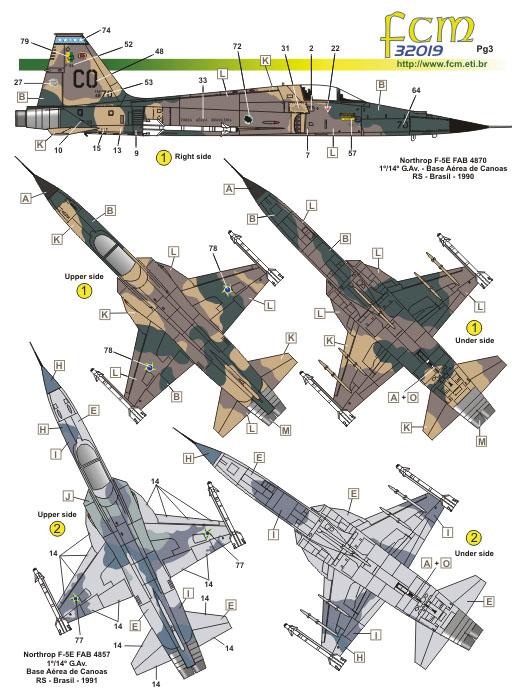 Decalque F-5E Tiger II 1/32 - FCM 32-019  - BLIMPS COMÉRCIO ELETRÔNICO