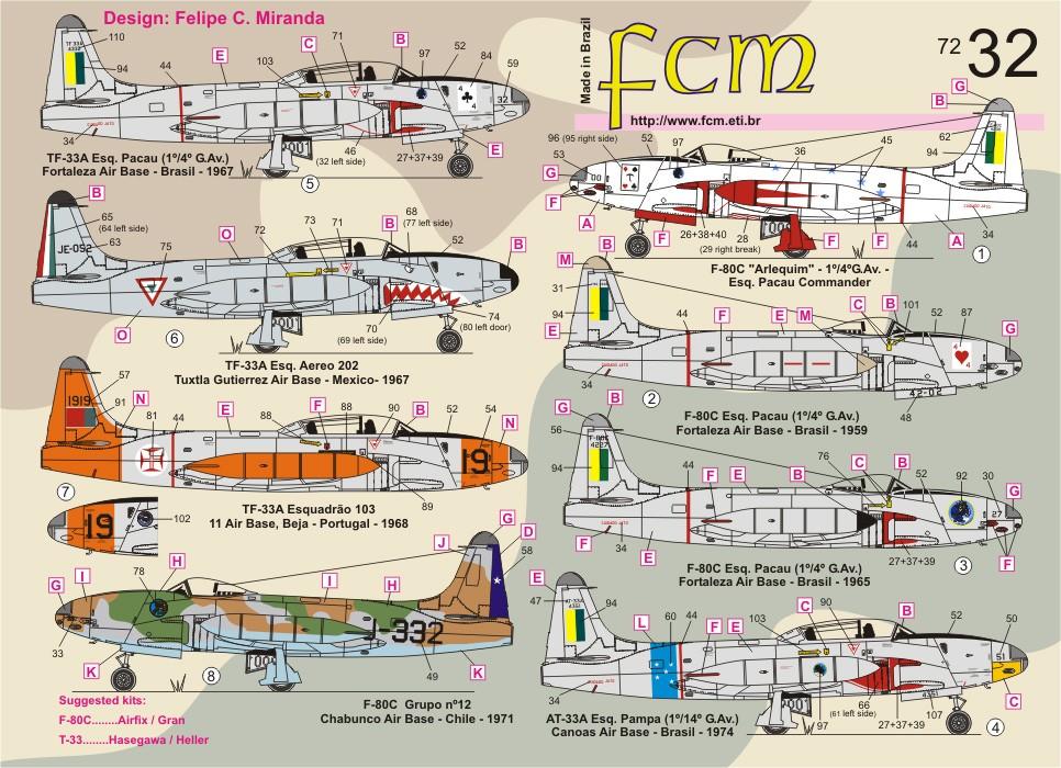Decalque F-80 e AT-33 Brasil, Chile, México e Portugal 1/72 - FCM 72-032  - BLIMPS COMÉRCIO ELETRÔNICO