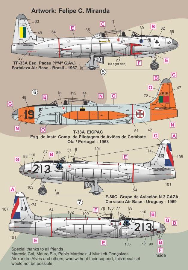 Decalque F-80/TF-33 1/48 - FCM 48-052  - BLIMPS COMÉRCIO ELETRÔNICO