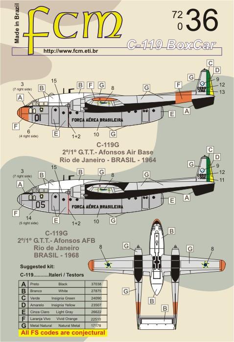 Decalque Fairchild C-119 Flying Boxcar FAB 1/72 - FCM 72036  - BLIMPS COMÉRCIO ELETRÔNICO