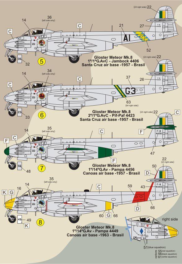 Decalque Gloster Meteor F.8 e TF-7 FAB 1/72 - FCM 72-047  - BLIMPS COMÉRCIO ELETRÔNICO