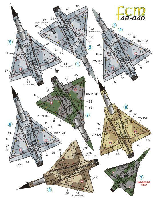 Decalque Mirage 2000 FAB, França e Peru  1/48 - FCM 48-040  - BLIMPS COMÉRCIO ELETRÔNICO