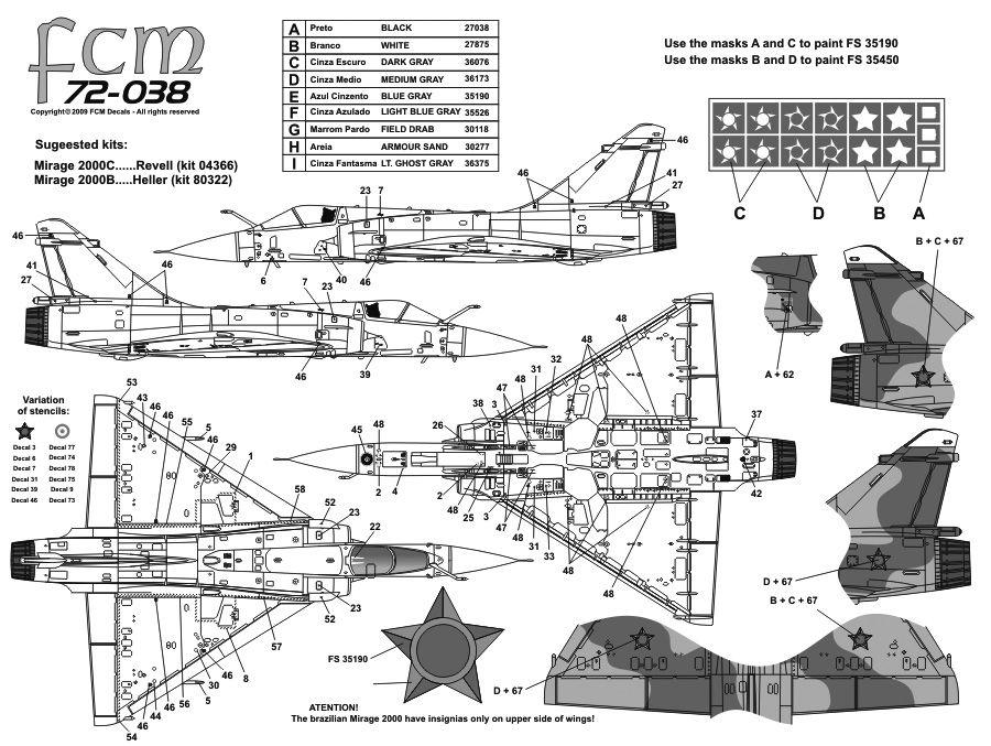 Decalque Mirage 2000C FAB 1/72 - FCM 72038  - BLIMPS COMÉRCIO ELETRÔNICO