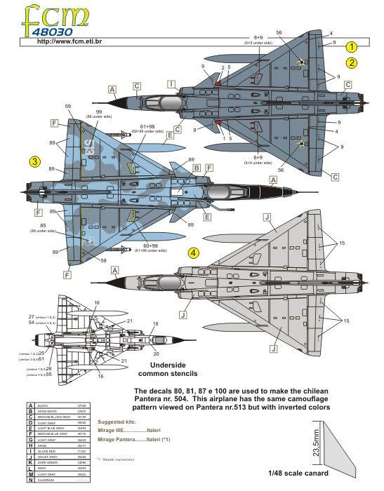 Decalque Mirage IIID e IIIE BR FAB 1/48 - FCM 48030  - BLIMPS COMÉRCIO ELETRÔNICO