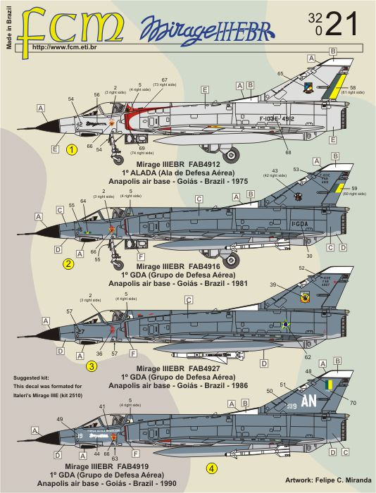 Decalque Mirage IIIEBR FAB 1/32 - FCM 32-021  - BLIMPS COMÉRCIO ELETRÔNICO