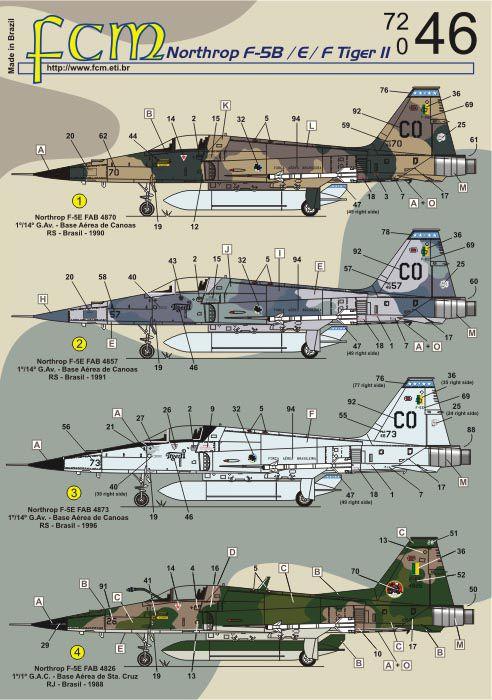 Decalque Northrop F-5B, E e F Tiger II FAB 1/72 - FCM 72-046  - BLIMPS COMÉRCIO ELETRÔNICO