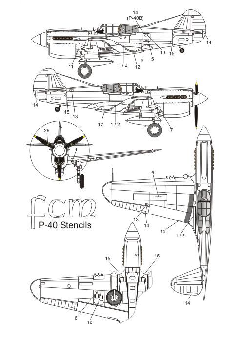 Decalque P-40 K/M/N 1/32 - FCM 32-017  - BLIMPS COMÉRCIO ELETRÔNICO