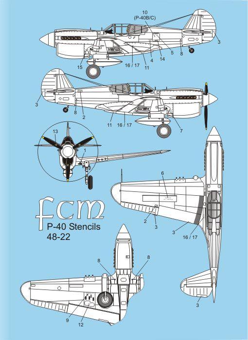 Decalque P-40C, E, K & M FAB 1/48 - FCM 48022  - BLIMPS COMÉRCIO ELETRÔNICO