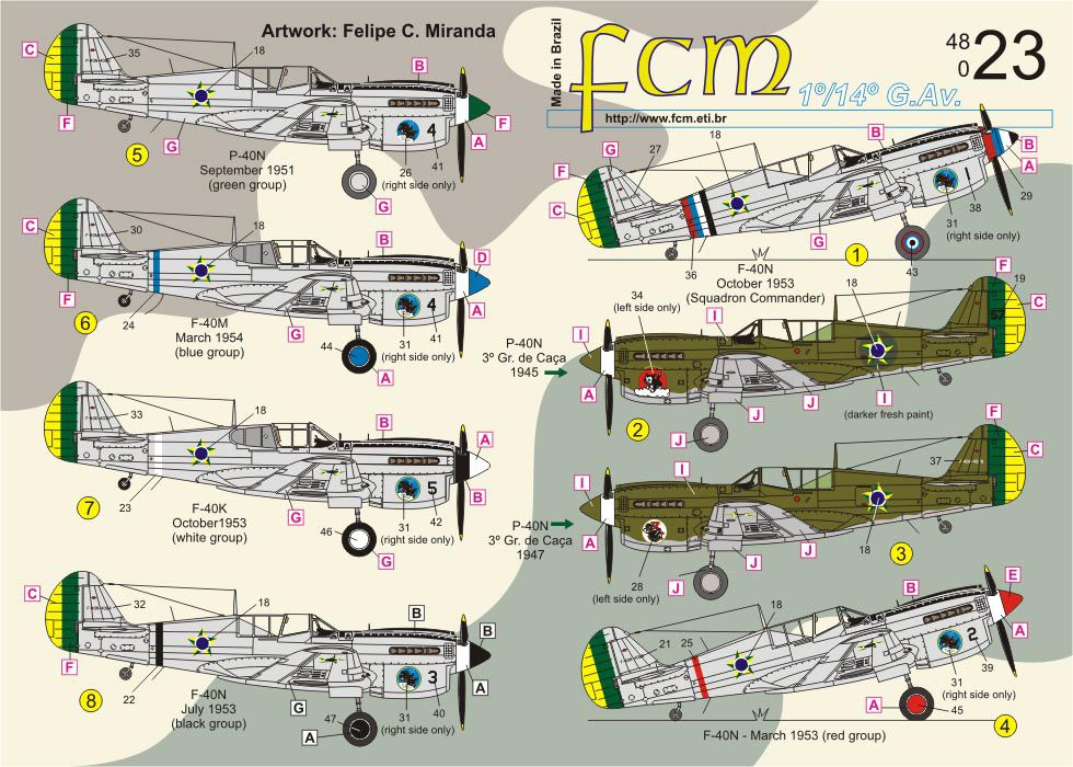 Decalque P-40K, M & N FAB 1/48 - FCM 48023  - BLIMPS COMÉRCIO ELETRÔNICO