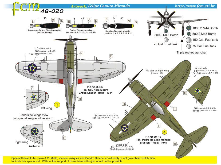 Decalque P-47D FAB 1/48 - FCM 48020  - BLIMPS COMÉRCIO ELETRÔNICO
