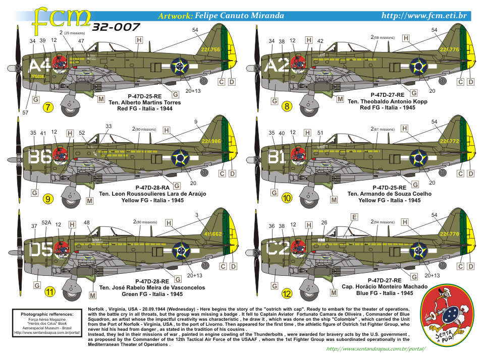 Decalque Republic P-47D 1/32 - FCM 32-007  - BLIMPS COMÉRCIO ELETRÔNICO