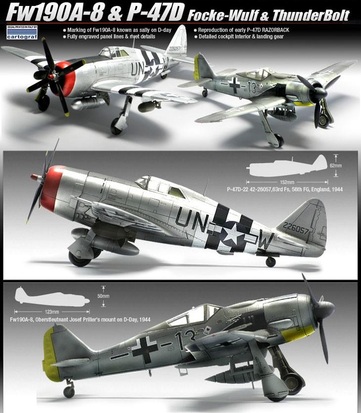 Fw190A-8 e P-47D - 1-72 - Academy 12513  - BLIMPS COMÉRCIO ELETRÔNICO