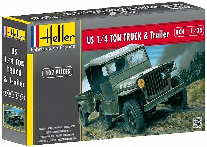 Jeep Willis e trailer - 1/35 - Heller 81105  - BLIMPS COMÉRCIO ELETRÔNICO