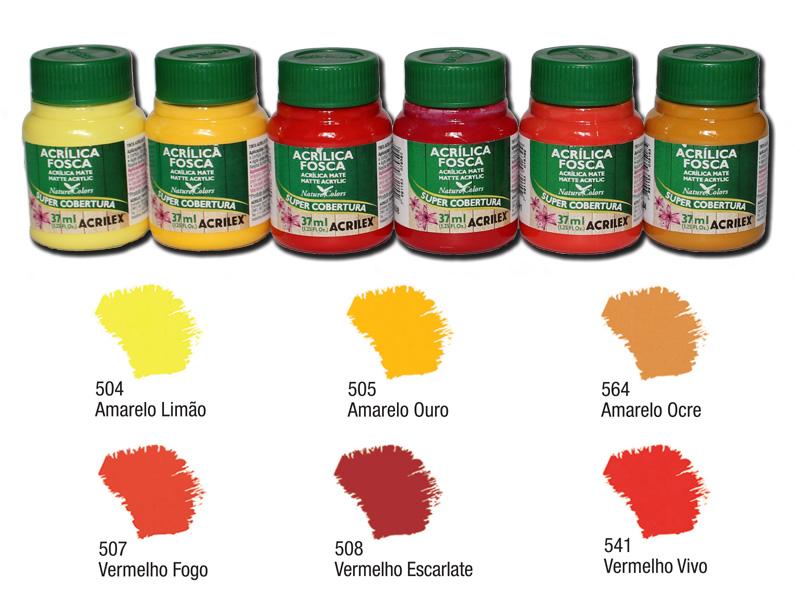 Kit B com 6 tintas acrílicas foscas Acrilex - Acrilex 035402  - BLIMPS COMÉRCIO ELETRÔNICO