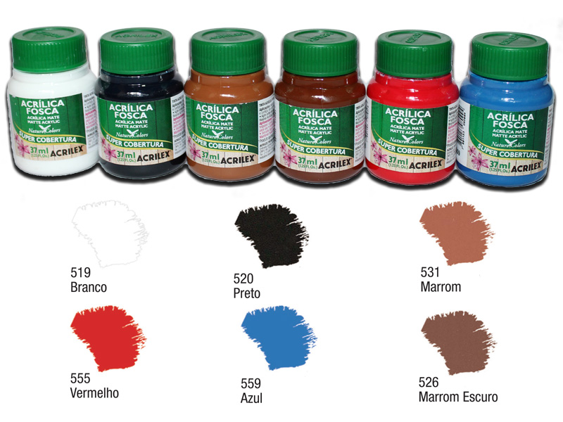 Kit C com 6 tintas acrílicas foscas Acrilex - Acrilex 035403  - BLIMPS COMÉRCIO ELETRÔNICO