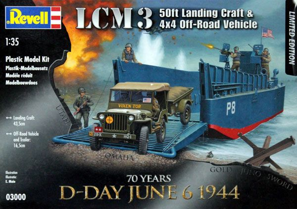Lancha de desembarque LCM3 e Jeep - 1/35 - Revell 03000  - BLIMPS COMÉRCIO ELETRÔNICO