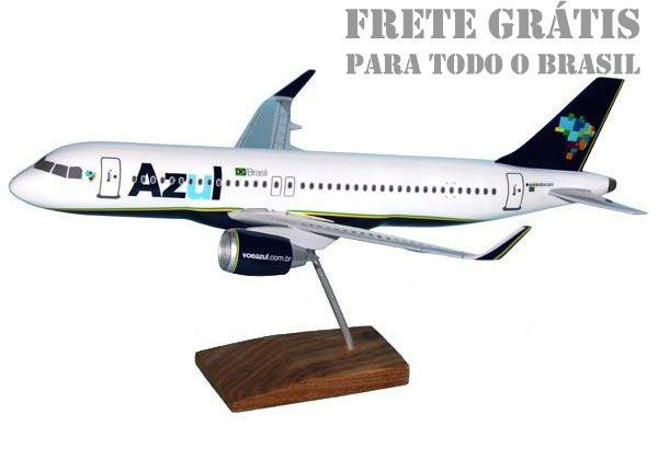 Maquete Airbus A320neo Azul - 38 cm