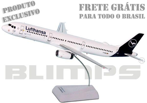 Maquete Airbus A321 Lufthansa nova pintura - 31 cm  - BLIMPS COMÉRCIO ELETRÔNICO
