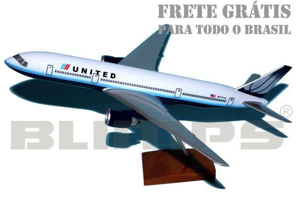 Maquete Boeing 777-200 United - 30 cm  - BLIMPS COMÉRCIO ELETRÔNICO