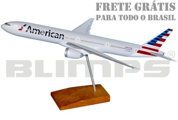 Maquete Boeing 777-300 American - 38 cm  - BLIMPS COMÉRCIO ELETRÔNICO