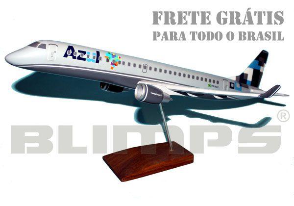 Maquete Embraer 195 Azul/TRIP (prefixo PR-AXV) - 48 cm  - BLIMPS COMÉRCIO ELETRÔNICO