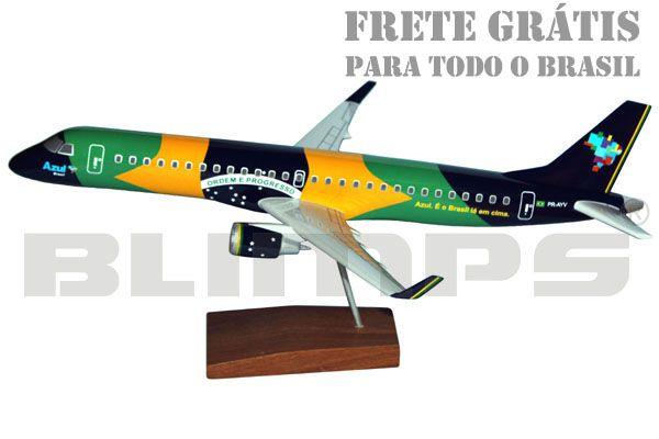Maquete Embraer 195AR Azul (´Azul Brasileiro´) - 48 cm  - BLIMPS COMÉRCIO ELETRÔNICO