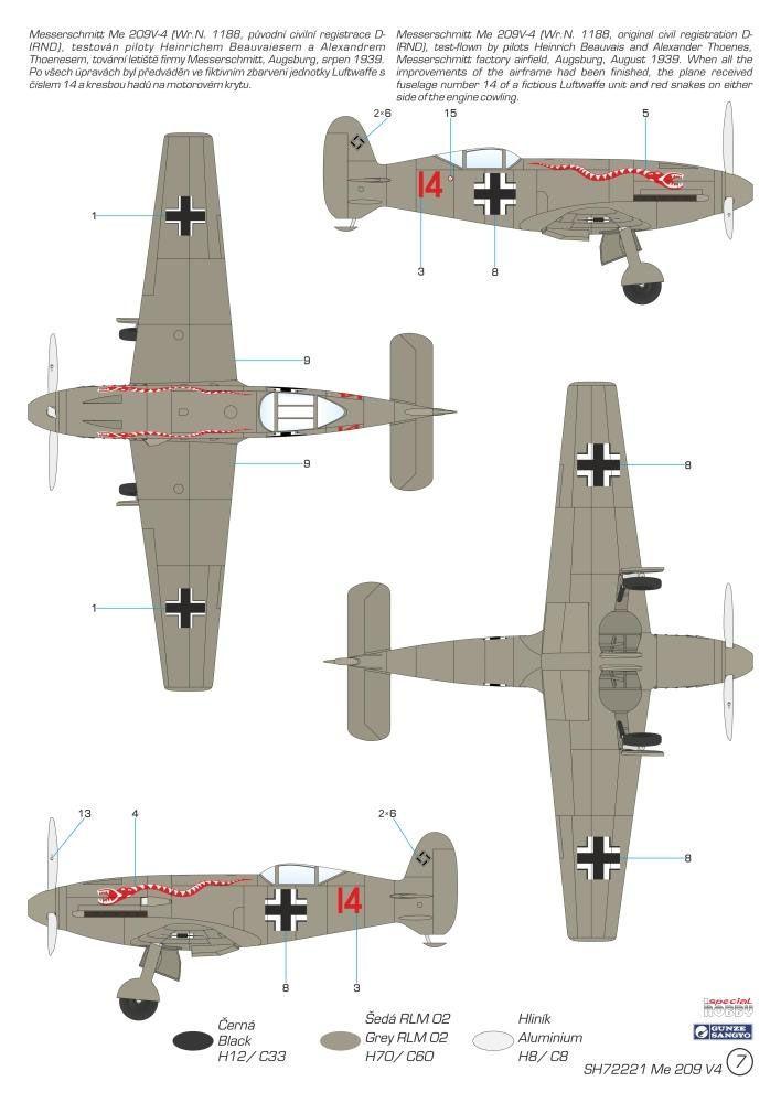 Messerschmitt Me 209V4 - 1/72 - Special Hobby 72221  - BLIMPS COMÉRCIO ELETRÔNICO