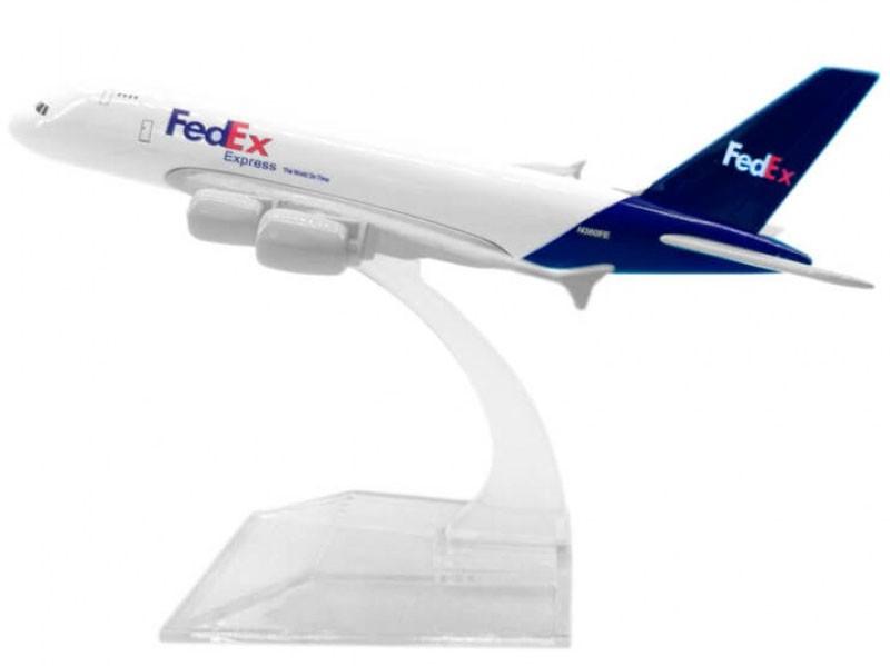 Miniatura Airbus A380 FedEx - 16 cm  - BLIMPS COMÉRCIO ELETRÔNICO