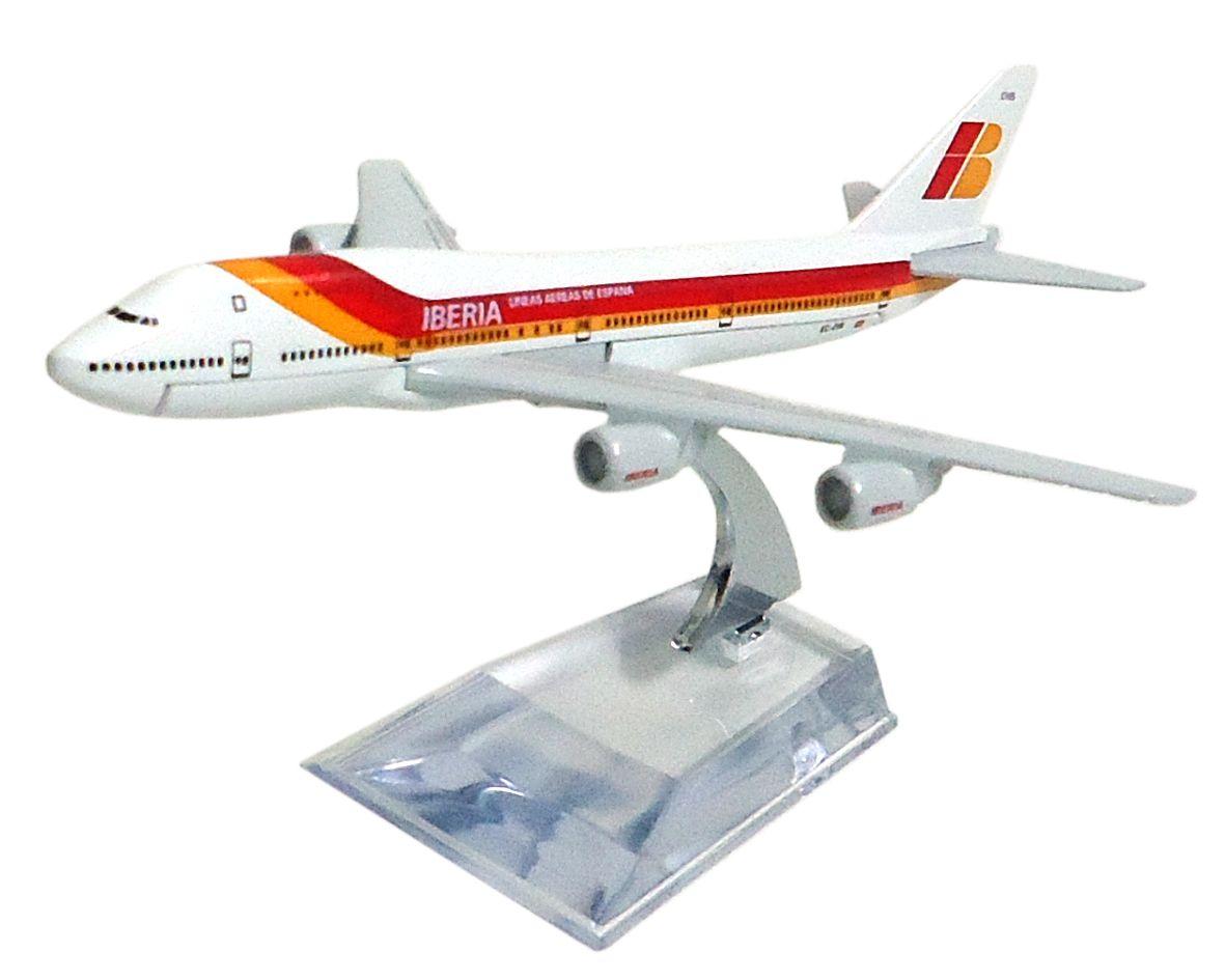 Miniatura Boeing 747-200 Iberia - 16 cm  - BLIMPS COMÉRCIO ELETRÔNICO