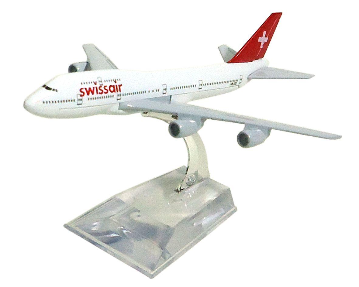 Miniatura Boeing 747-300 Swissair - 16 cm  - BLIMPS COMÉRCIO ELETRÔNICO
