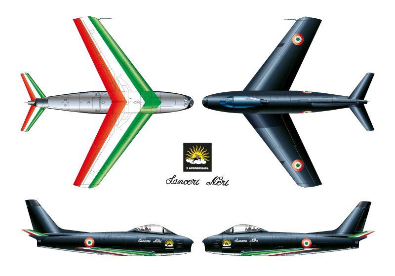 Miniatura F-86E Sabre - Lanceri Neri - 1/100 - Italeri 48122  - BLIMPS COMÉRCIO ELETRÔNICO