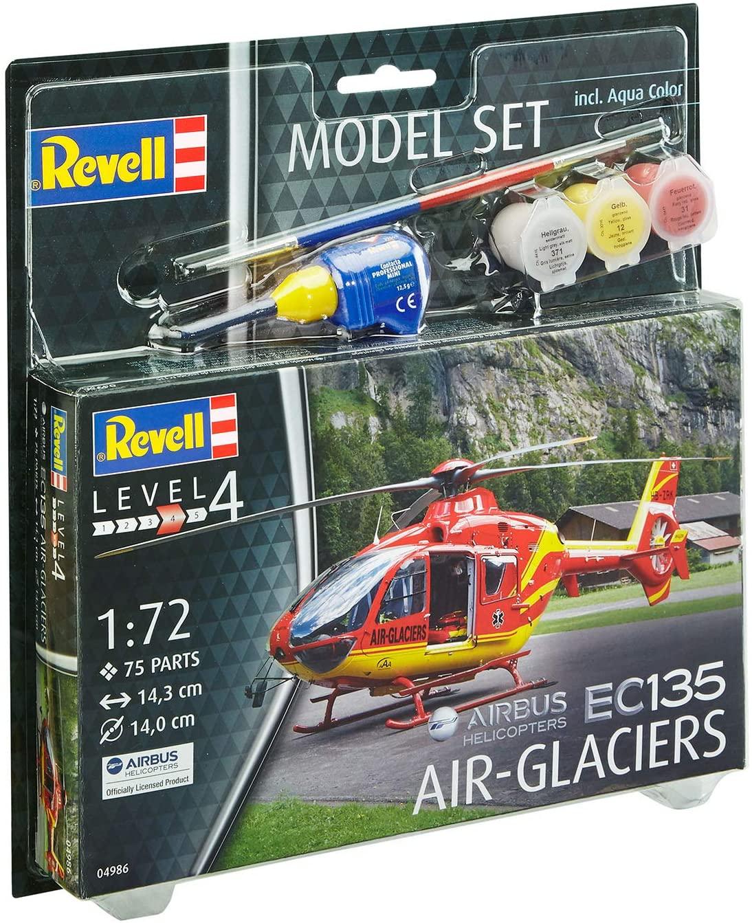 Model Set Airbus Helicopters EC135 Air-Glaciers - 1/72 - Revell 64986  - BLIMPS COMÉRCIO ELETRÔNICO