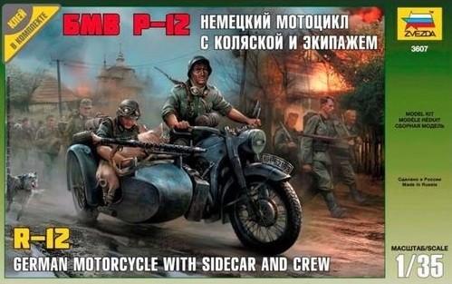 Motocicleta alemã R-12 com sidecar e figura - 1/35 - Zvezda 3607  - BLIMPS COMÉRCIO ELETRÔNICO