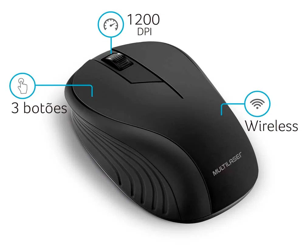 Mouse Sem Fio 2.4Ghz USB Preto - Multilaser MO212  - BLIMPS COMÉRCIO ELETRÔNICO