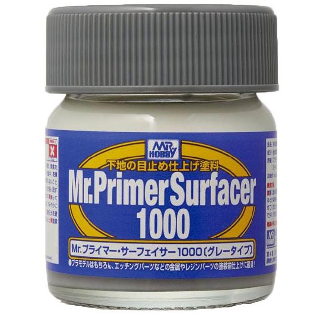 Mr.Primer Surfacer 1000 - Primer cinza - Mr.Hobby SF287  - BLIMPS COMÉRCIO ELETRÔNICO