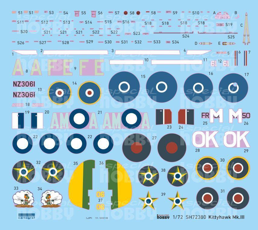 P-40K com decalques FAB - 1/72 - Special Hobby 72380  - BLIMPS COMÉRCIO ELETRÔNICO