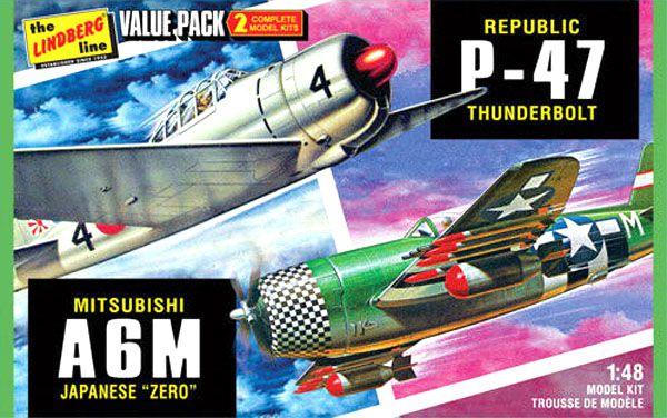 P-47D Thunderbolt e A6M Zero - 1/48 - Lindberg HL507  - BLIMPS COMÉRCIO ELETRÔNICO