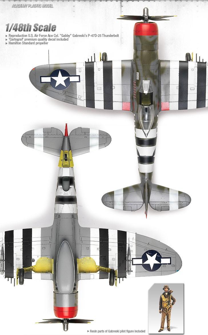 """P-47D Thunderbolt """"Gabreski"""" - 1/48 - Academy 12222  - BLIMPS COMÉRCIO ELETRÔNICO"""