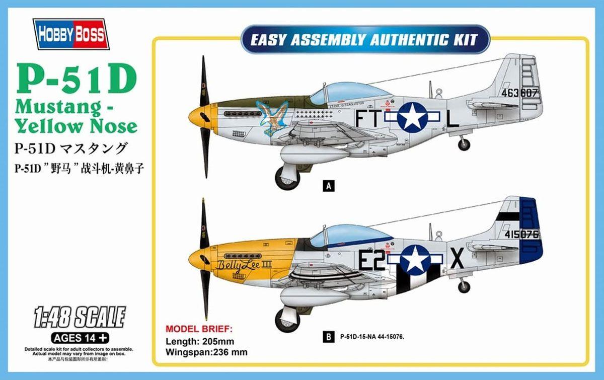 P-51D Mustang - Yellow Nose - 1/48 - HobbyBoss 85808  - BLIMPS COMÉRCIO ELETRÔNICO