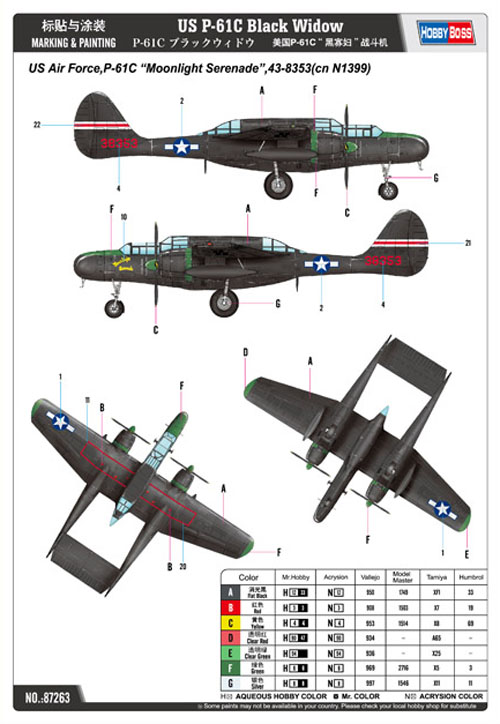 P-61C Black Widow - 1/72 - HobbyBoss 87263  - BLIMPS COMÉRCIO ELETRÔNICO