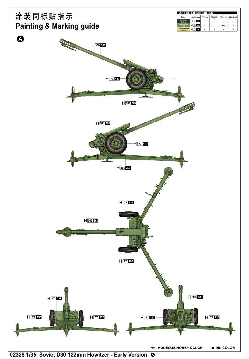 Soviet D30 122mm Howitzer - Early Version - 1/35 - Trumpeter 02328  - BLIMPS COMÉRCIO ELETRÔNICO